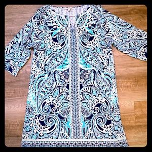 Blue teal shift sun dress plus size
